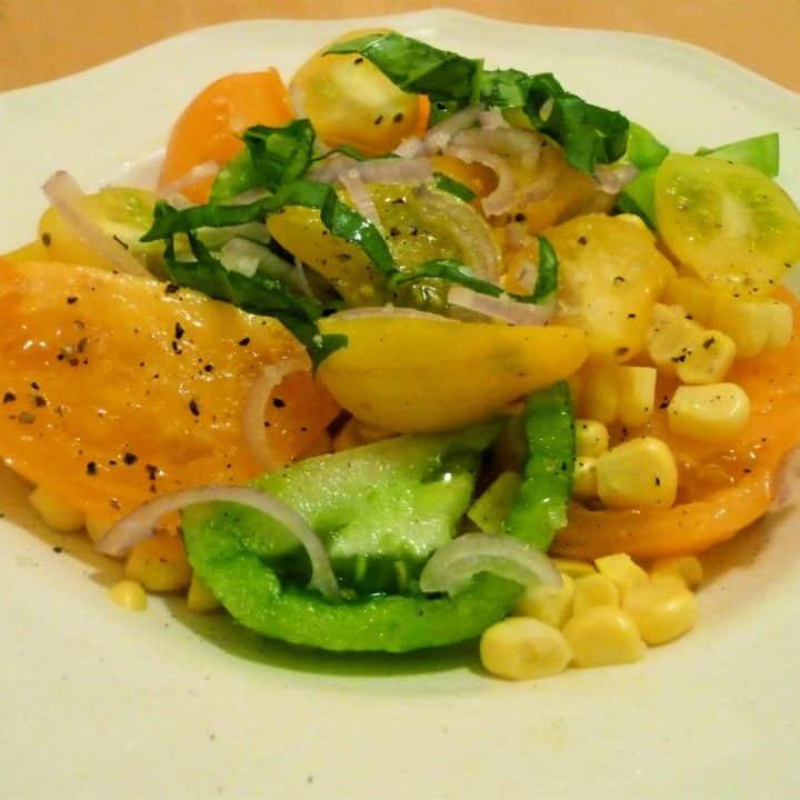 Tomato Salad with Corn and Basil
