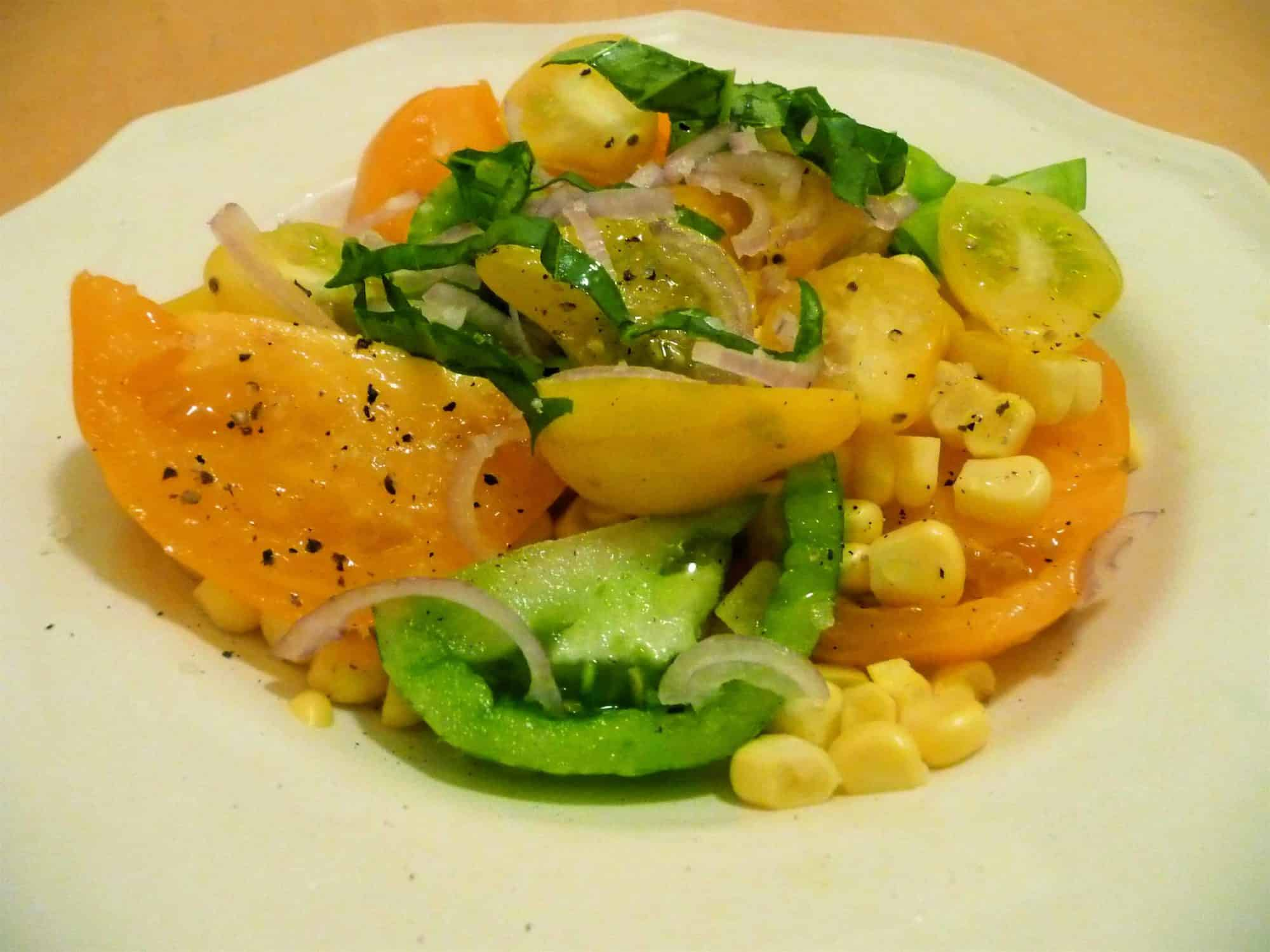 Simple Tomato Salad with Corn and Basil