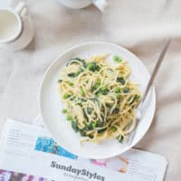 Breakfast Pasta with Spinach and Egg