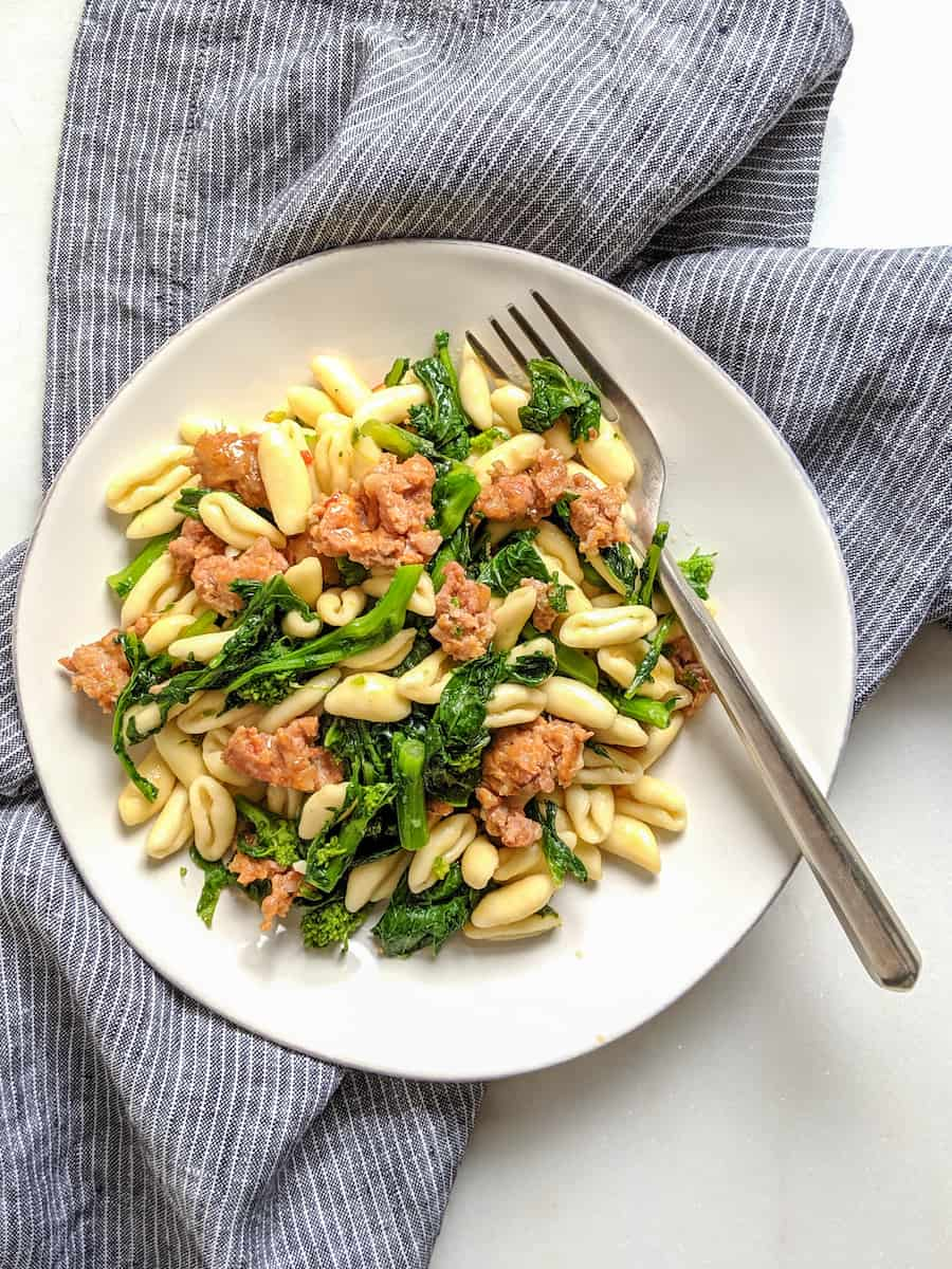 Cavatelli with Broccoli Rabe and Sausage for the Feast of Saint Cono