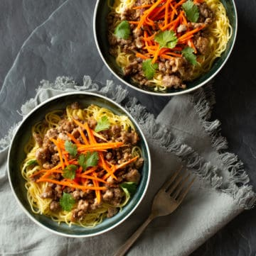 lemongrass pork bowl with noodles