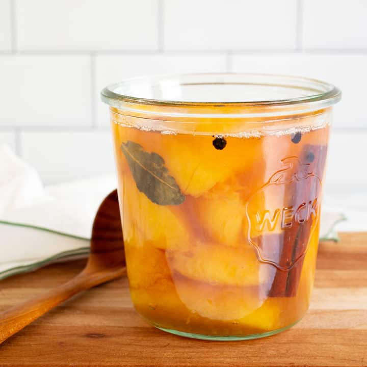 jar of pickled peaches