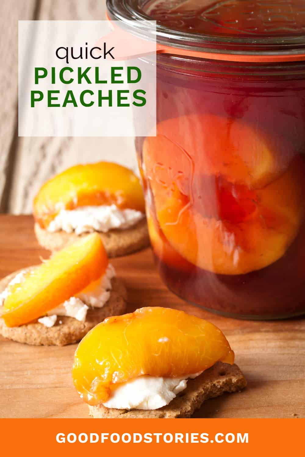pickled peaches with cheese and crackers