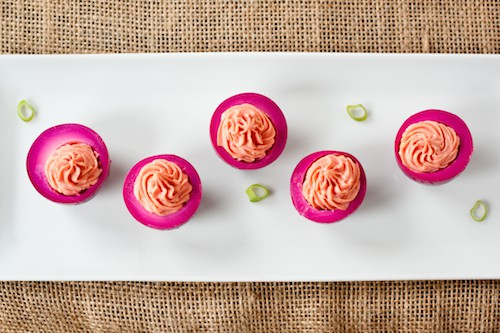 beet-pickled deviled eggs, via www.www.goodfoodstories.com