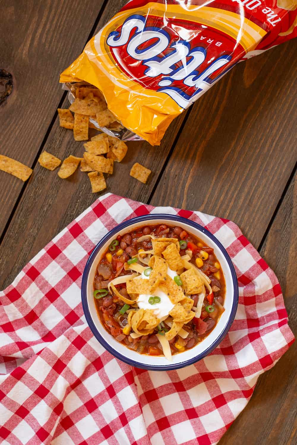 vegetarian chili topped with corn chips