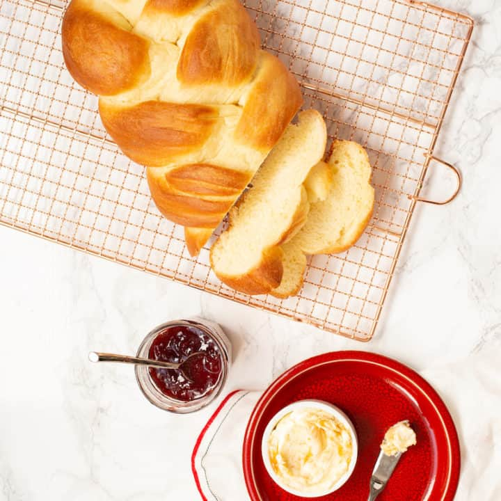 braided Swiss bread with honey butter