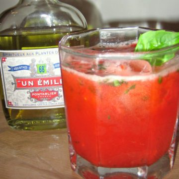 absinthe strawberry basil cocktail