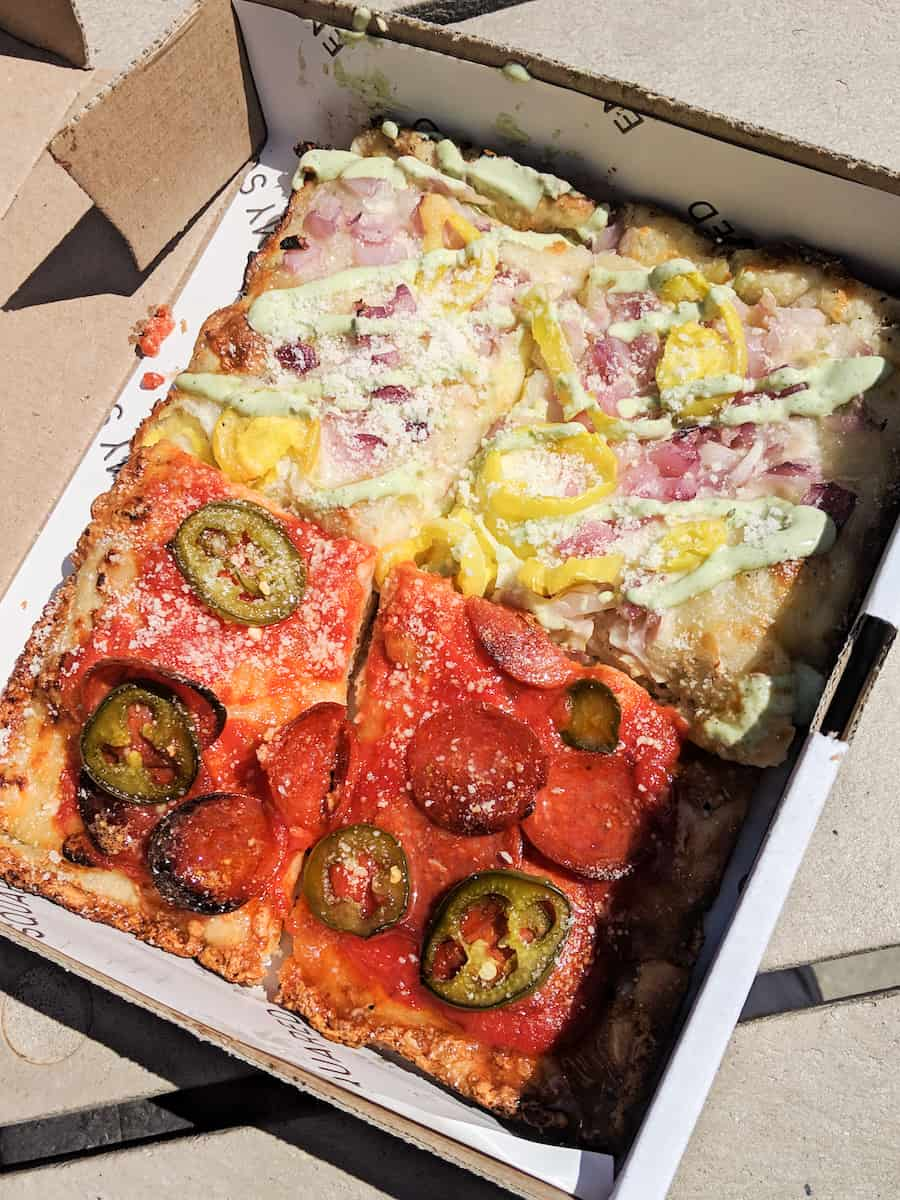 The The Emmy Squared pizza at Citi Field is the best food you'll find at Mets games. #emmysquared #detroitpizza #mets #citifield Squared Le Big Matt Burger at Citi Field is the best food you'll find at Mets games. #emmysquared #detroitpizza #mets #citifield