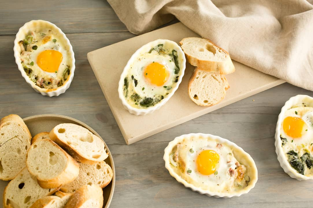 baked eggs in cream, via www.goodfoodstories.com