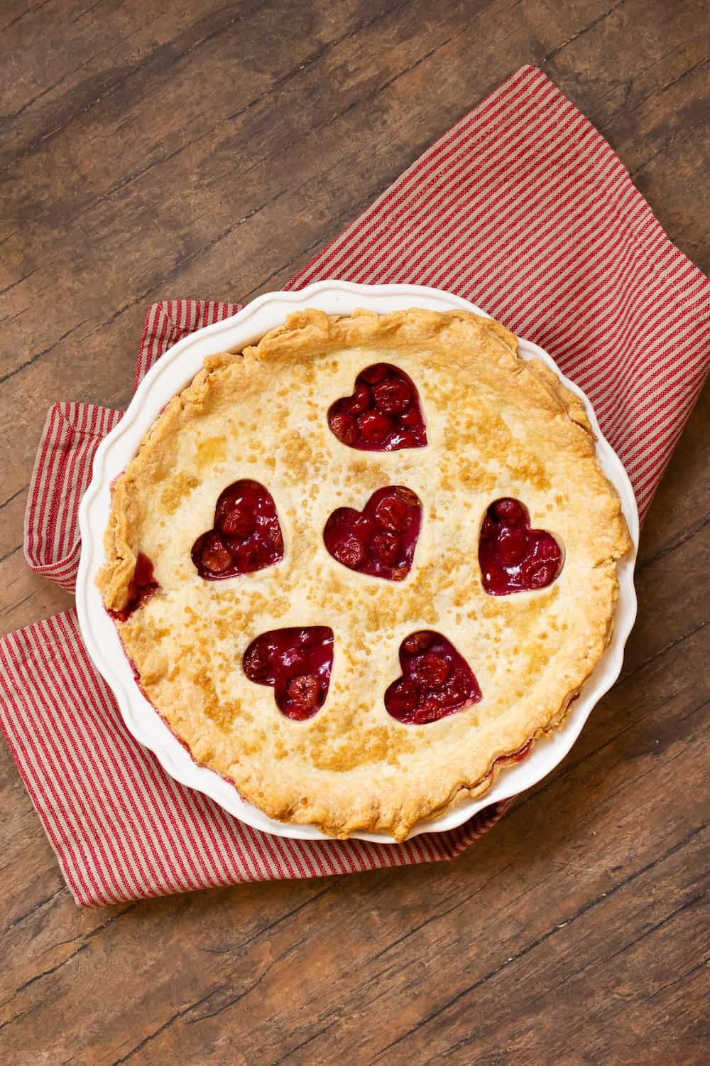 cherry pie with heart cutouts