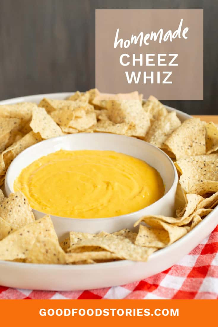 Homemade Cheez Whiz for nachos, cheese fries or dipping can be made in 15 minutes without adding scary chemicals or preservatives. #cheesepull #cheezwhiz #cheesedip #cheesesauce