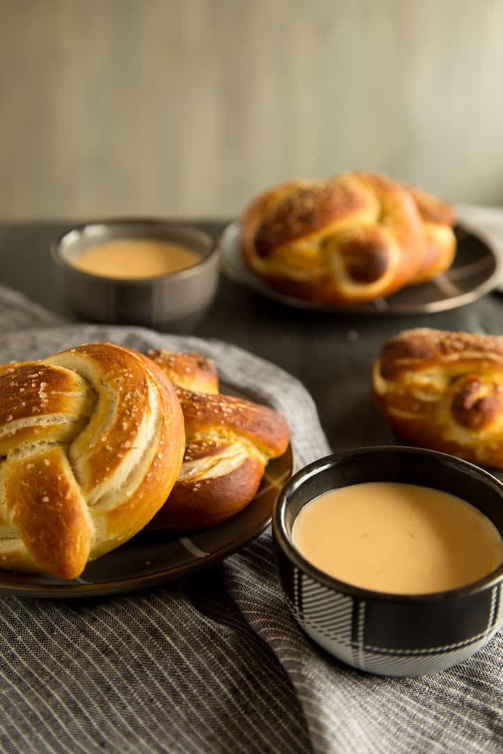 homemade soft pretzels and cheese sauce