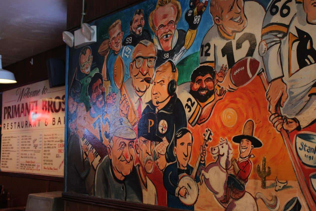 murals at Primanti's in Pittsburgh, via www.goodfoodstories.com