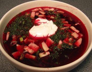 Russian borscht soup
