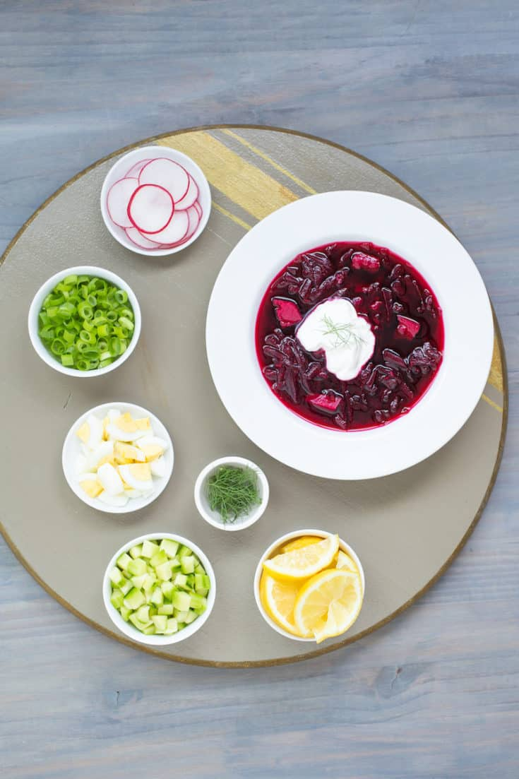 Cold borscht, the classic Russian beet soup, makes a great summer dish. This 3-ingredient recipe lets you garnish each bowl as you wish. #borscht #coldsoup #beetsoup