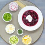 cold borscht and garnishes