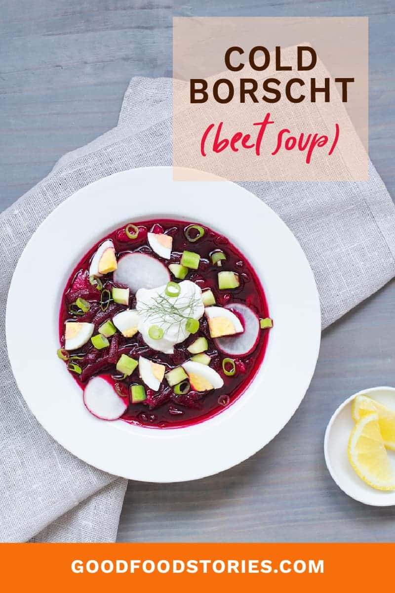 cold borscht with garnishes: scallions, radishes, sour cream, and hard boiled egg