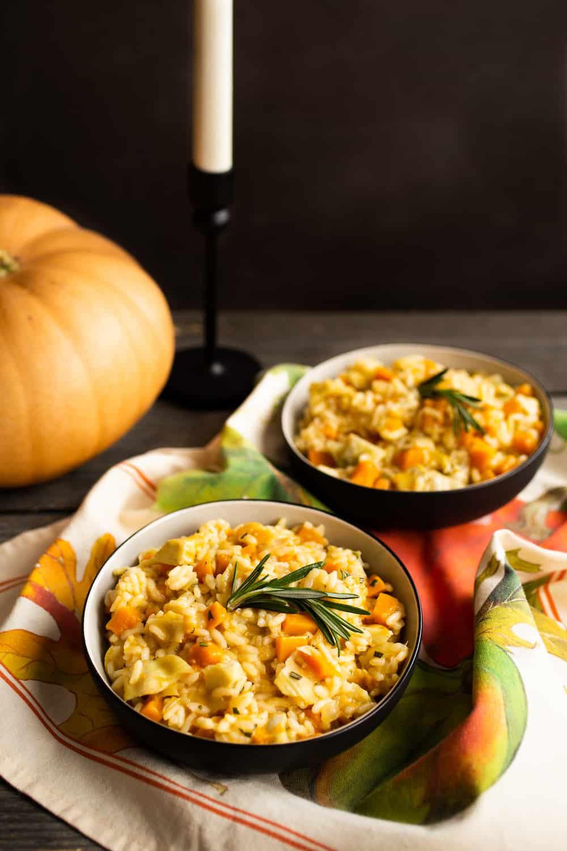 Pumpkin Risotto with Artichokes
