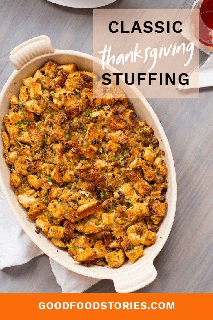 Thanksgiving stuffing can be prepared many ways, but this version with celery, onion, and butter is simple but classic. It's always welcome at the holiday table. #thanksgivingrecipes #stuffing #thanksgivingsides