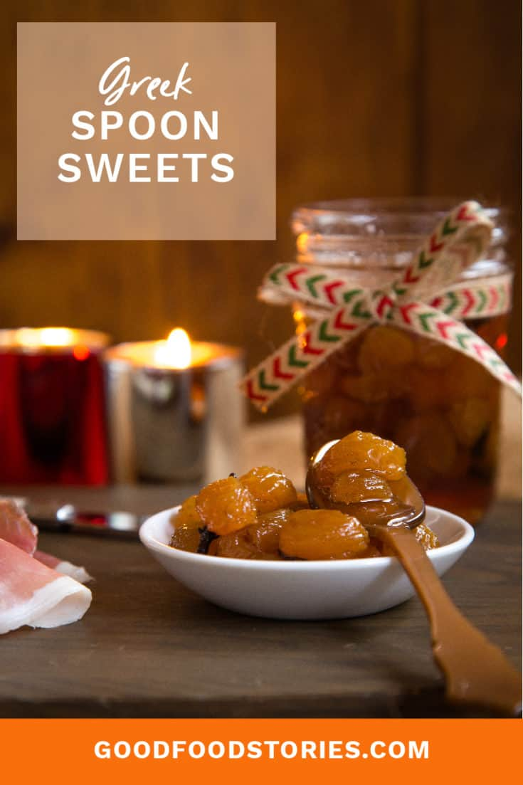 Greek spoon sweets—a simple dessert made of fruit in thick syrup that can be jarred and preserved for homemade holiday gifts.