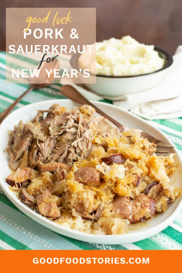 Good luck pork and sauerkraut is usually served on New Year's Day. Find out why this German and Eastern European tradition persists (hint: it's delicious!). #goodluckporkandsauerkraut #newyearseve #newyearsday #goodluckfood