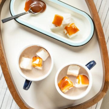 Salted caramel hot cocoa is a rich, decadent drink for cold days and holidays.