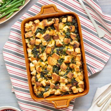 kale leek and bacon bread pudding