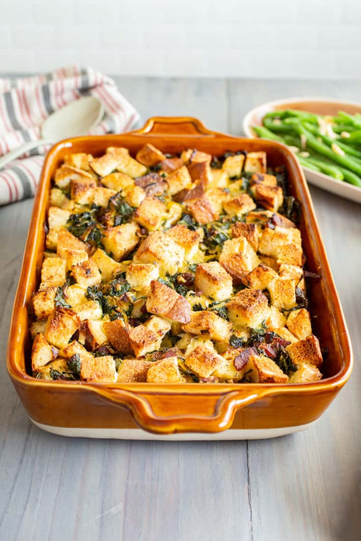 Kale, Leek, and Bacon Bread Pudding
