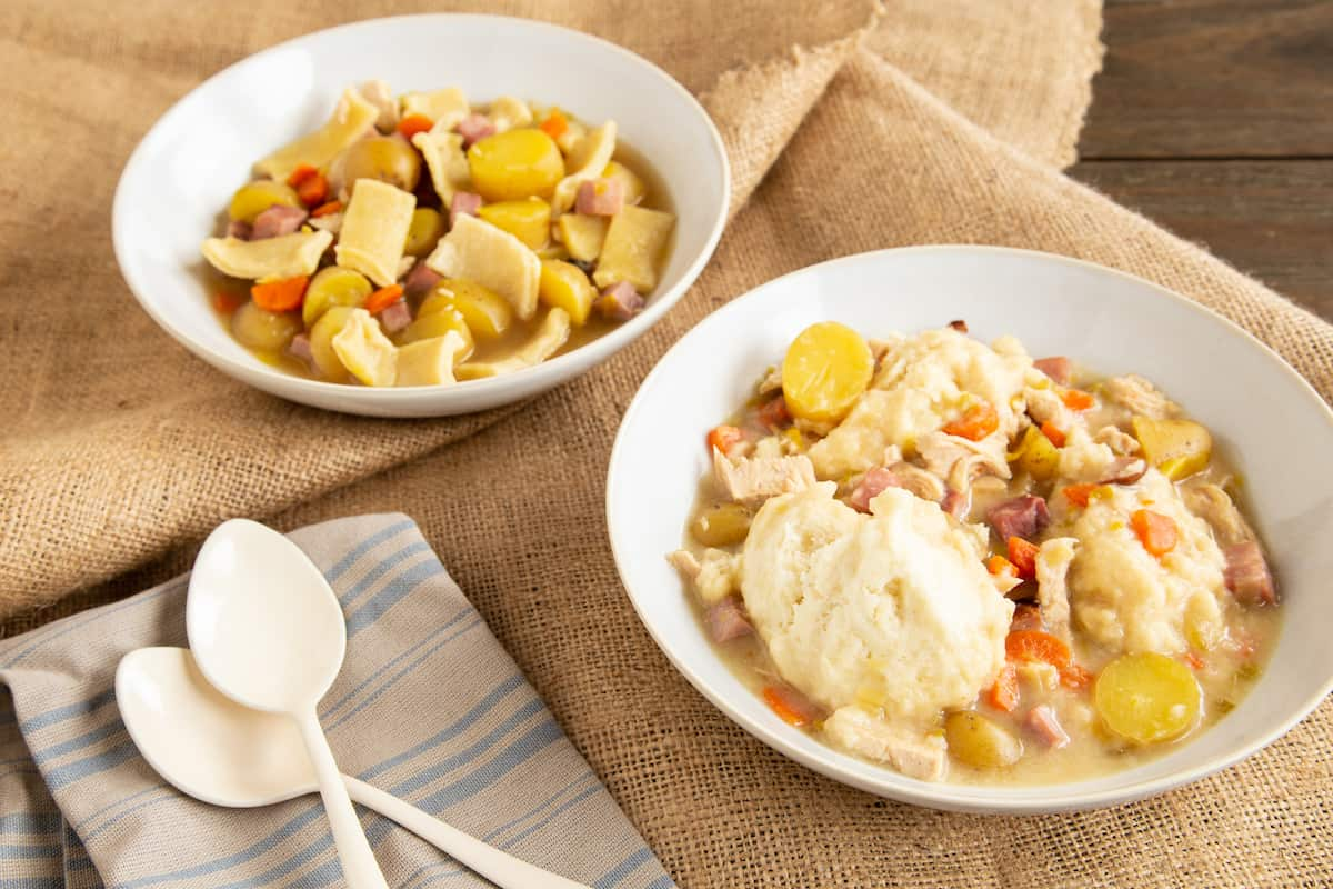 Biscuit drop dumplings or rolled noodle dumplings? Make chicken and dumplings the way you like it with these two classic methods. #chickenanddumplings #comfortfood