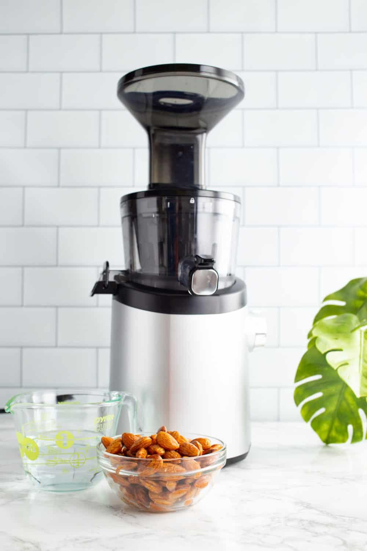 almond milk in a slow juicer