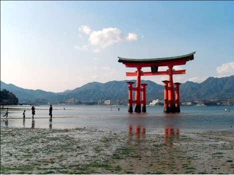hiroshima floating torii, japan