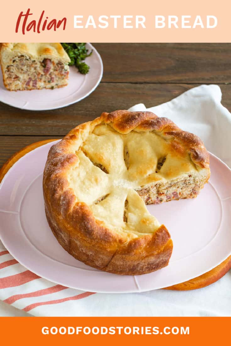 Pizza Chiena or Pizza Gain is an Italian Easter bread absolutely stuffed with sausage, salami, ricotta, and mozzarella cheese. #pizzachiena #pizzagain #italianeasterbread
