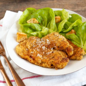 breaded chicken cutlets and salad