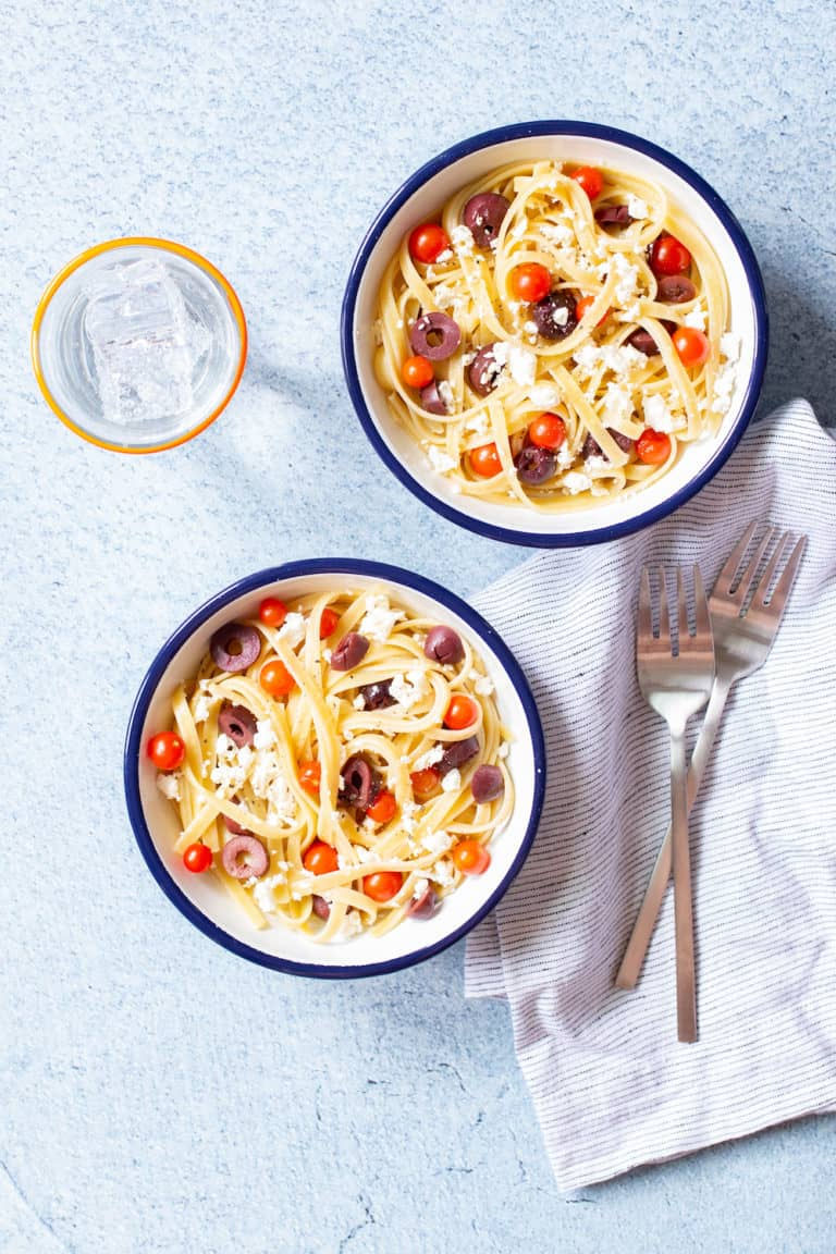 Higher Education: Feta, Black Olive, and Tomato Pasta