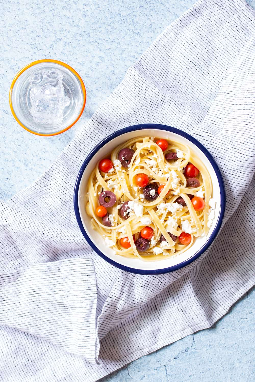 feta black olive and tomato pasta