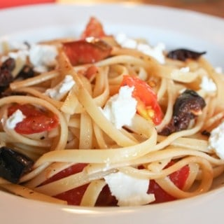 Higher Education: Pasta with Feta, Black Olives and Tomatoes
