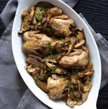 braised quail with mushrooms