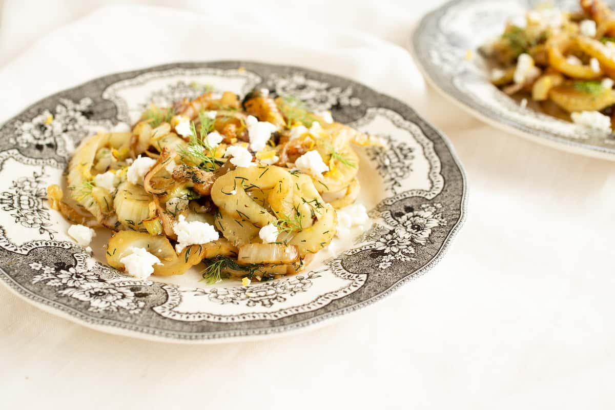 Caramelized fennel from Yotam Ottolenghi's Plenty cookbook brings out the vegetable's natural sweetness. Serve with goat cheese and lemon zest.