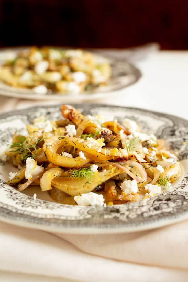 Caramelized fennel from Yotam Ottolenghi's Plenty cookbook brings out the vegetable's natural sweetness. Serve with goat cheese and lemon zest. #ottolenghi #fennel #vegetarian