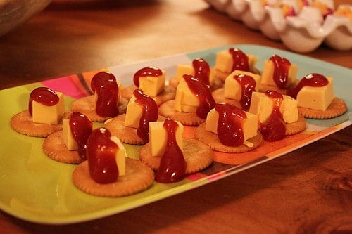 velveeta, ketchup, ritz crackers