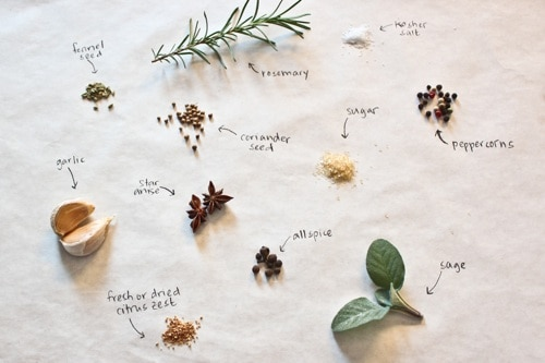 spices and herbs for brine