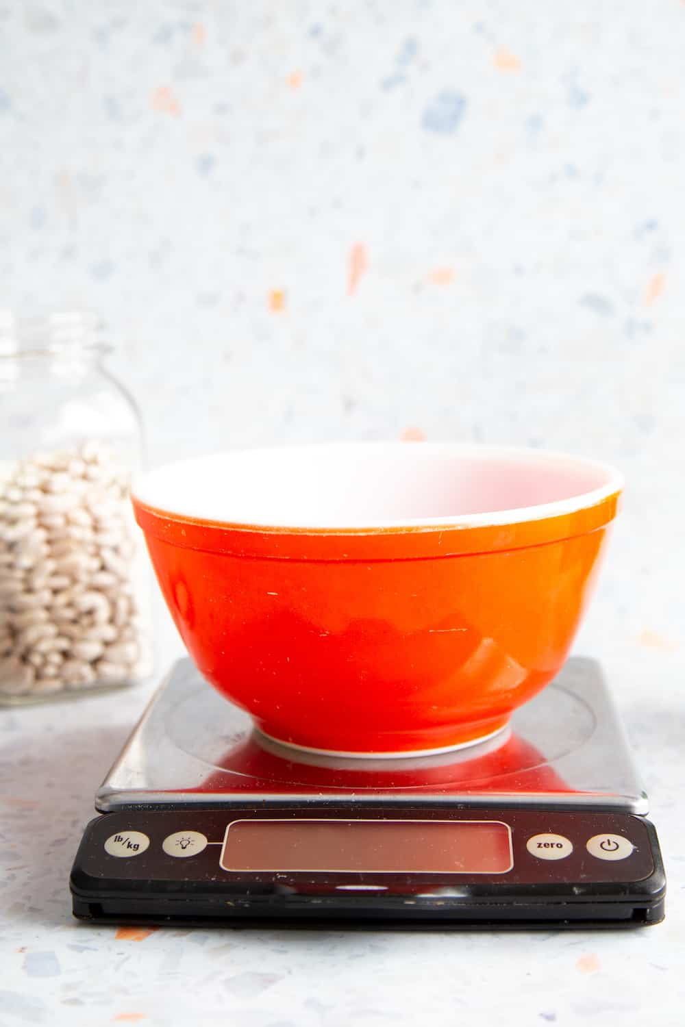 bowl on a kitchen scale