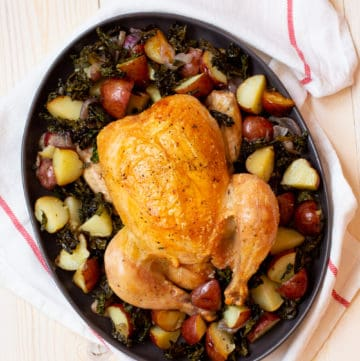 roast chicken with potatoes and kale