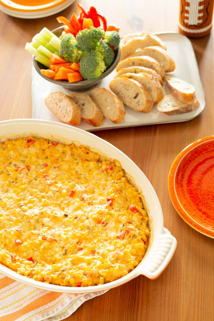 hot cheesy corn dip for parties, via www.goodfoodstories.com