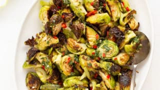 Roasted Brussels Sprouts with Honey and Mint