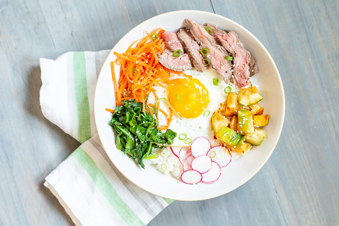 bibimbap with flank steak, via www.goodfoodstories.com