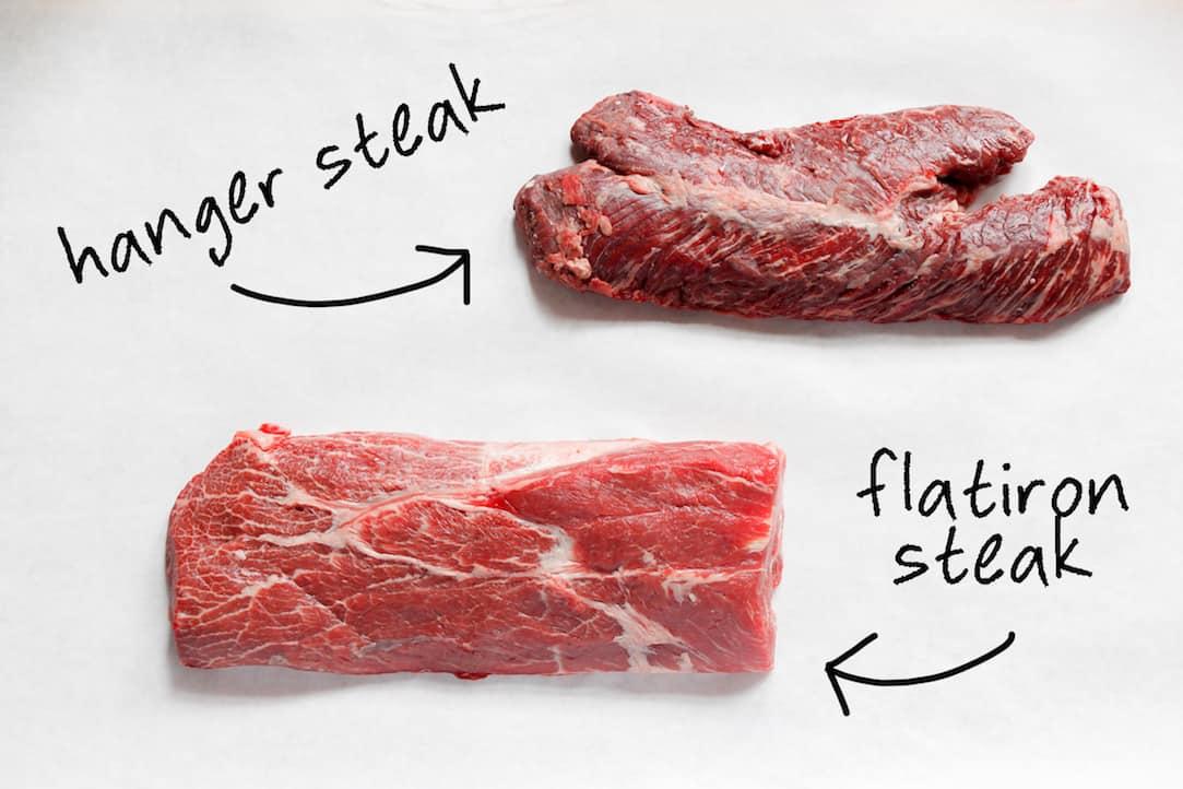 hanger steak and flatiron steak cuts