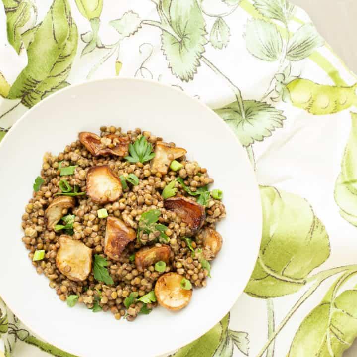 Warm Lentil Salad with Roasted Jerusalem Artichokes (Sunchokes)