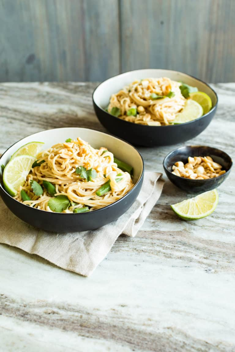 Vegetarian Peanut Noodles with Green Beans