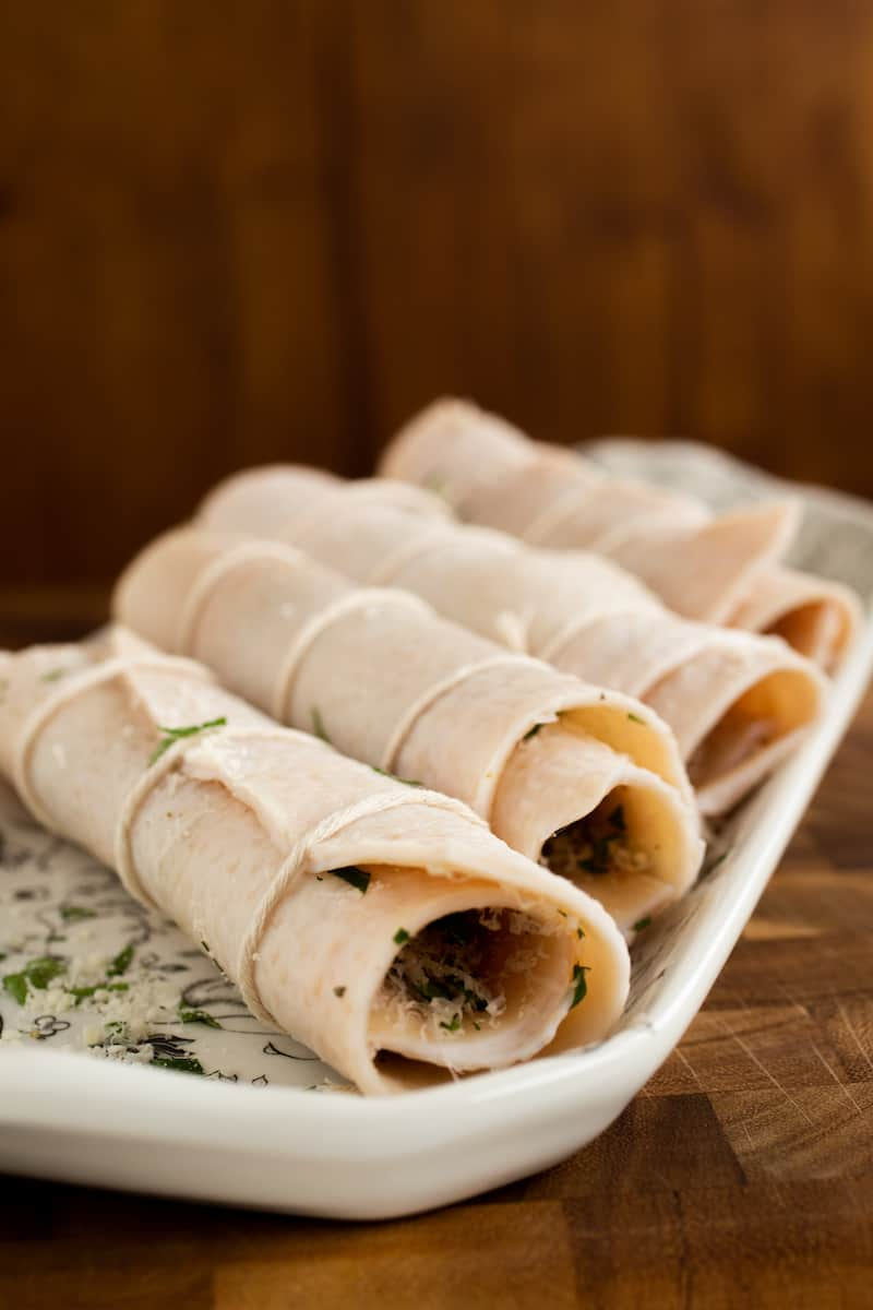 cotenne, or rolled pork skin braciole for red sauce